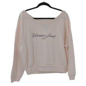 Victorias Secret Paris Sweatshirt L Pale Pink Wide